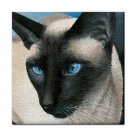 Ceramic Tile Coaster from art painting Siamese Cat