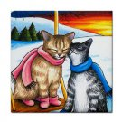 Ceramic Tile Coaster from art painting Cat 318