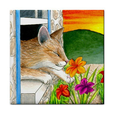 Ceramic Tile Coaster from art painting Cat 401