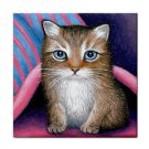Ceramic Tile Coaster from art painting Cat 407