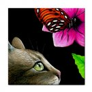 Ceramic Tile Coaster from art painting Cat 410