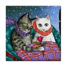 Ceramic Tile Coaster from art painting Cat 436 winter