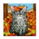 Ceramic Tile Coaster from art painting Cat 441 fall autumn