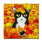 Ceramic Tile Coaster from art painting Cat 447-2 fall autumn