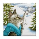 Ceramic Tile Coaster from art painting Cat 452 winter