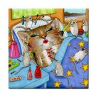 Ceramic Tile Coaster from art painting Cat 508 funny mice