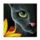 Ceramic Tile Coaster from art painting Cat 510 ladybug
