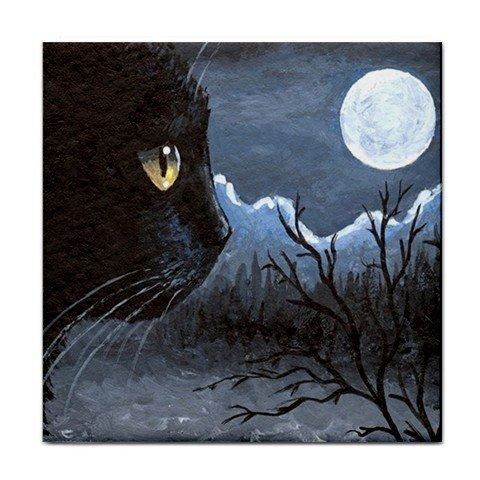 Ceramic Tile Coaster from art painting Cat 534 black cat