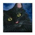 Ceramic Tile Coaster from art painting Cat 536 black cat