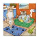Ceramic Tile Coaster from art painting Cat 538 bathroom art