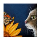 Ceramic Tile Coaster from art painting Cat 541 butterfly