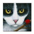 Ceramic Tile Coaster from art painting Cat 542 ladybug
