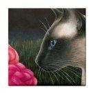 Ceramic Tile Coaster from art painting Cat 546 siamese,flower