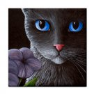 Ceramic Tile Coaster from art painting Cat 550 black cat flower