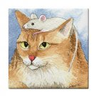 Ceramic Tile Coaster from art painting Cat 552 mouse