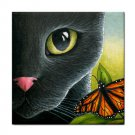 Ceramic Tile Coaster from art painting Cat 555 black cat butterfly