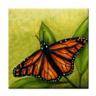 Ceramic Tile Coaster from art painting Cat 555 butterfly only