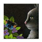 Ceramic Tile Coaster from art painting Cat 556 butterfly