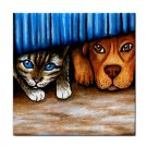 Ceramic Tile Coaster from art painting Cat and dog 36