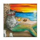Ceramic Tile Coaster from art painting Cat mermaid 25