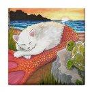 Ceramic Tile Coaster from art painting Cat mermaid 26