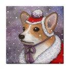 Ceramic Tile Coaster from art painting Dog 55 corgi winter