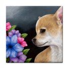 Ceramic Tile Coaster from art painting Dog 77 Chihuahua
