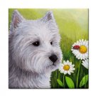 Ceramic Tile Coaster from art painting Dog 83 Westie West Highland
