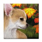 Ceramic Tile Coaster from art painting Dog 84 Chihuahua Fall Autumn