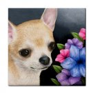 Ceramic Tile Coaster from art painting Dog 86 Chihuahua flower