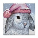 Ceramic Tile Coaster from art painting Hare 14 Rabbit Winter