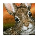 Ceramic Tile Coaster from art painting Hare 15 Rabbit