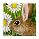 Ceramic Tile Coaster from art painting Hare 39 Rabbit