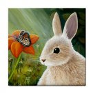 Ceramic Tile Coaster from art painting Hare 55 Rabbit Butterfly