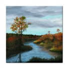 Ceramic Tile Coaster from art painting Landscape 146 Fall River