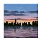 Ceramic Tile Coaster from art painting Landscape 147 City