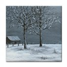Ceramic Tile Coaster from art painting Landscape 308 Winter