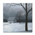 Ceramic Tile Coaster from art painting Landscape 309 Winter Cottage