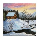 Ceramic Tile Coaster from art painting Landscape 315 Winter Cottage