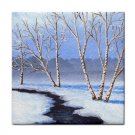 Ceramic Tile Coaster from art painting Landscape 328 Winter River