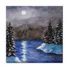 Ceramic Tile Coaster from art painting Landscape 367 Winter Lake