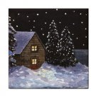 Ceramic Tile Coaster from art painting Landscape 368 Winter Cottage