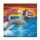 Ceramic Tile Coaster from art painting Mermaid 5 Dolphin