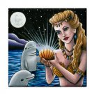 Ceramic Tile Coaster from art painting Mermaid 14 Dolphin