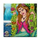 Ceramic Tile Coaster from art painting Mermaid 40 Dolphin