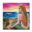Ceramic Tile Coaster from art painting Mermaid 41 Dolphin Turtle