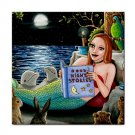 Ceramic Tile Coaster from art painting Mermaid 46 Dolphin Hare