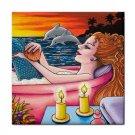 Ceramic Tile Coaster from art painting Mermaid 48 Dolphin Bath