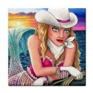Ceramic Tile Coaster from art painting Mermaid 58 Cowgirl
