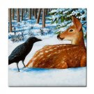 Ceramic Tile Coaster from art painting Crow Deer